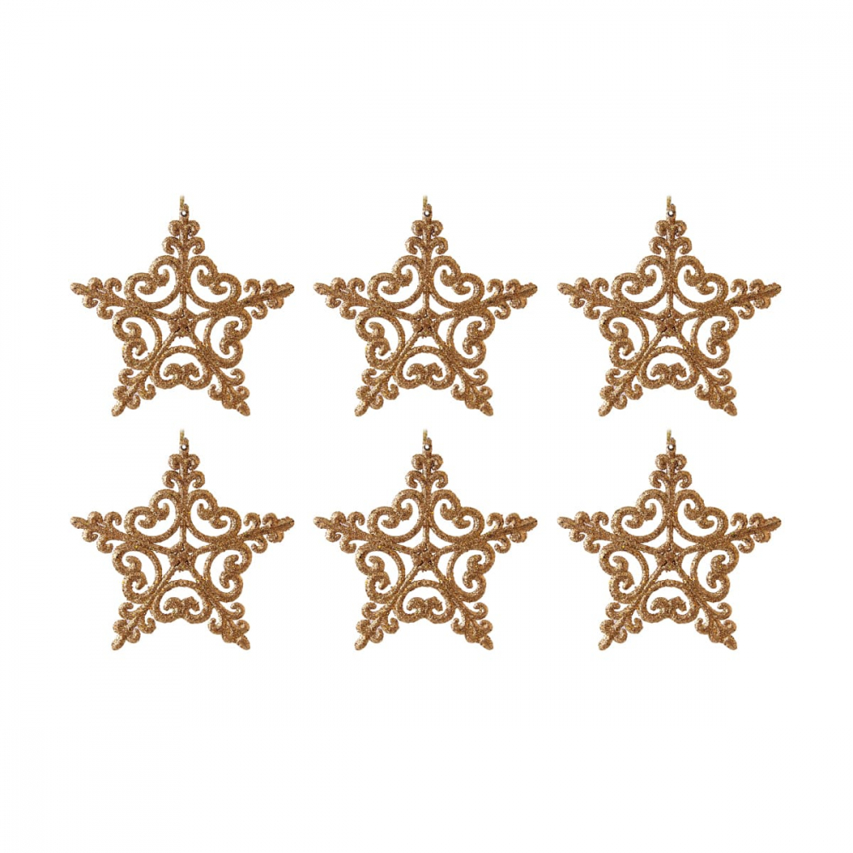 Glitter Christmas stars 12cm gold 6 pieces